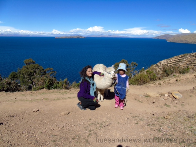 Lake Titicaca alpaca girl