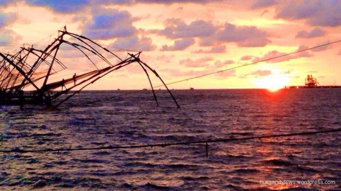 Fort Kochi Sunset fishing nets