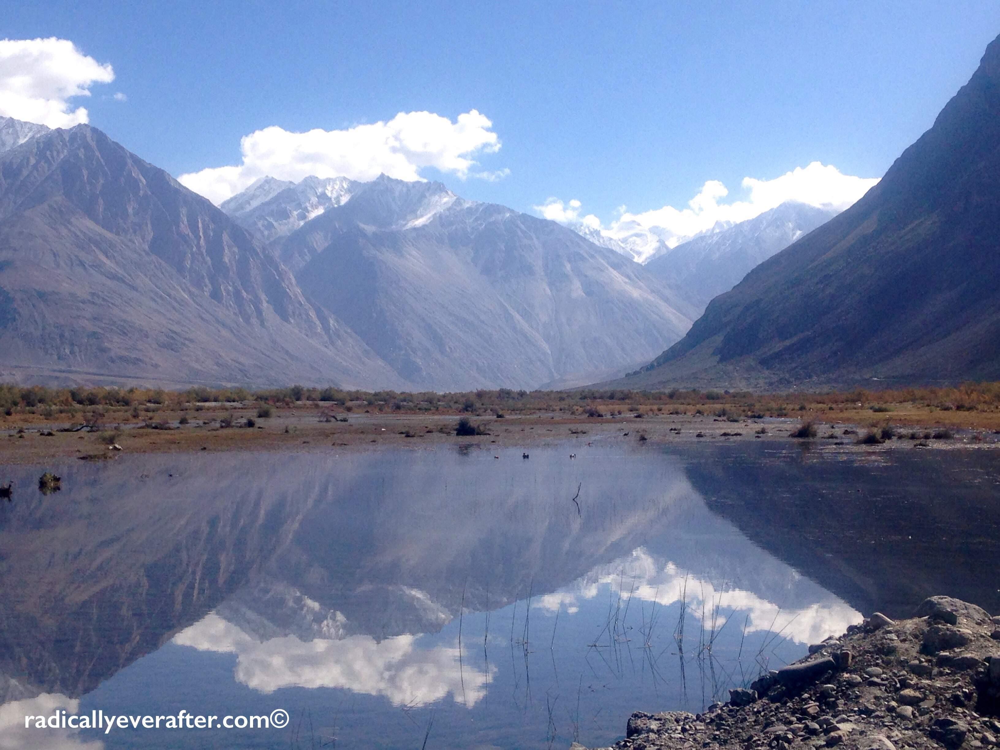 Ladakh, Nubra Valley, Lake, Reflection, BLue, Himalayas