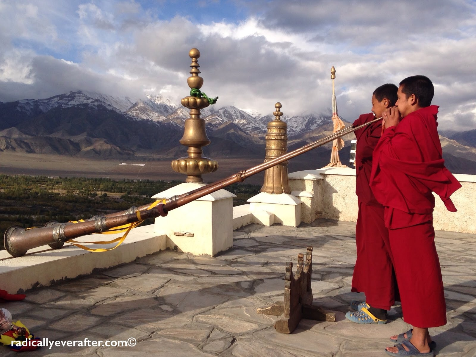 Thiksey monastery, morning call to prayer, monks, Himalayas, Leh