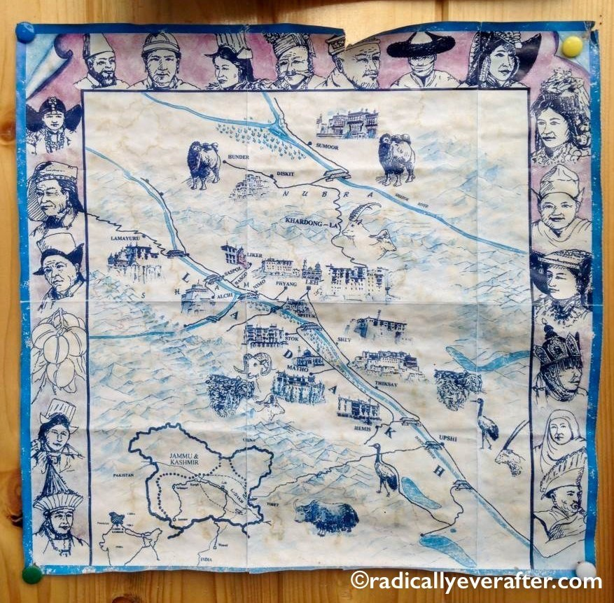 Leh, Ladakh, map, handmade, art