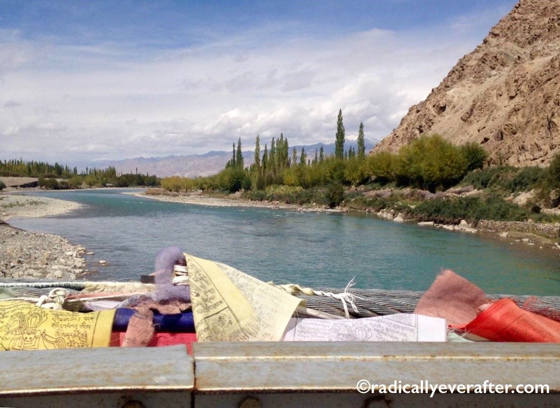 Leh. Indus River, Ladakh, prayer flags, bridge